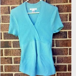 August Silk Blue Stretch Short Sleeve Top Form